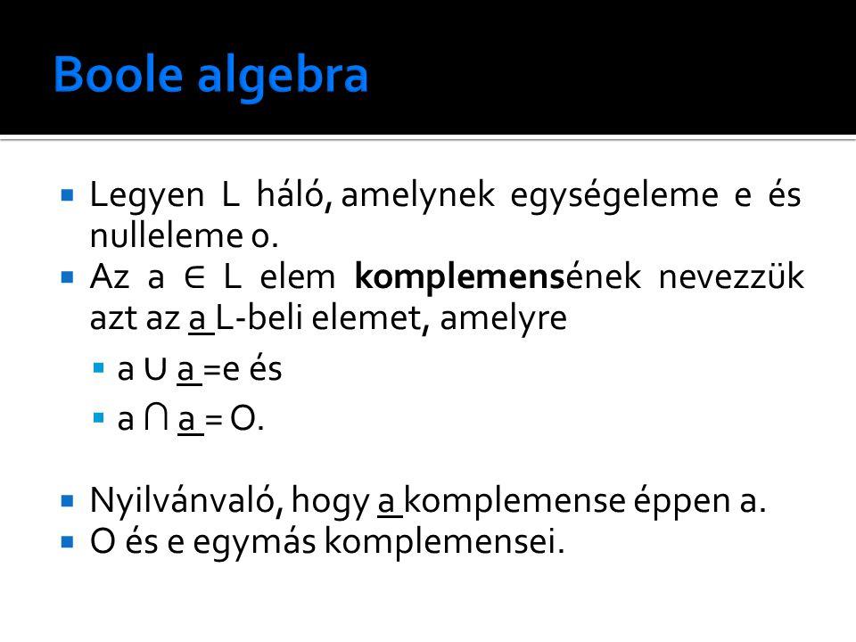  Legyen L háló, amelynek egységeleme e és nulleleme 0.