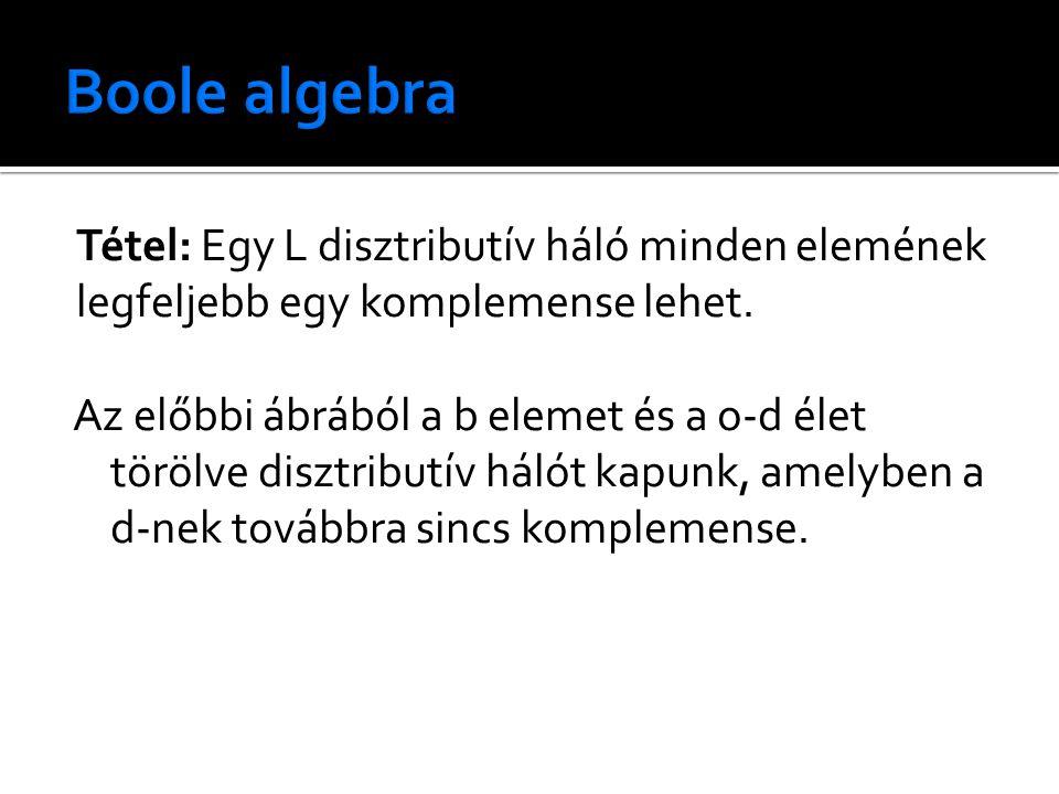Tétel: Egy L disztributív háló minden elemének legfeljebb egy komplemense lehet.