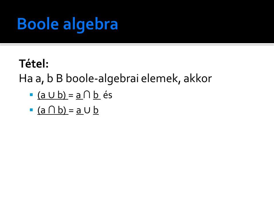 Tétel: Ha a, b B boole-algebrai elemek, akkor  (a ∪ b) = a ∩ b és  (a ∩ b) = a ∪ b
