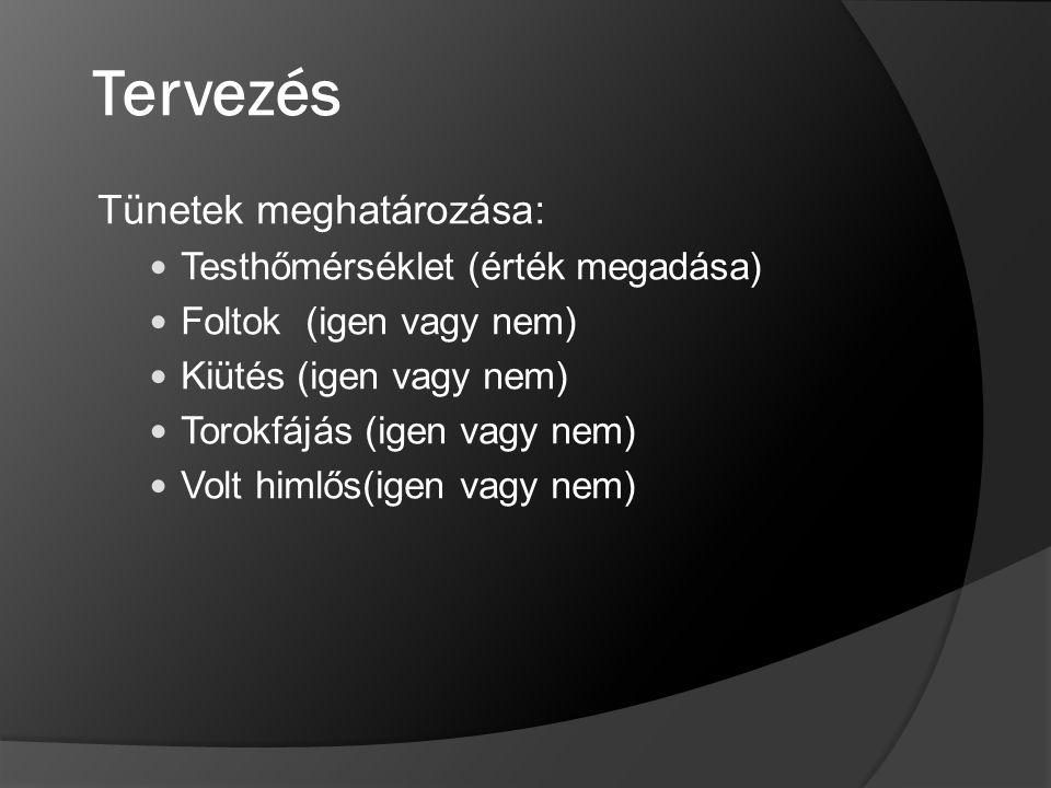 Tervezés Tünetek meghatározása: Testhőmérséklet (érték megadása) Foltok (igen vagy nem) Kiütés (igen vagy nem) Torokfájás (igen vagy nem) Volt himlős(