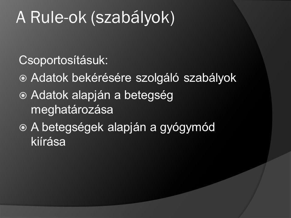 A Rule-ok (szabályok) Csoportosításuk:  Adatok bekérésére szolgáló szabályok  Adatok alapján a betegség meghatározása  A betegségek alapján a gyógy