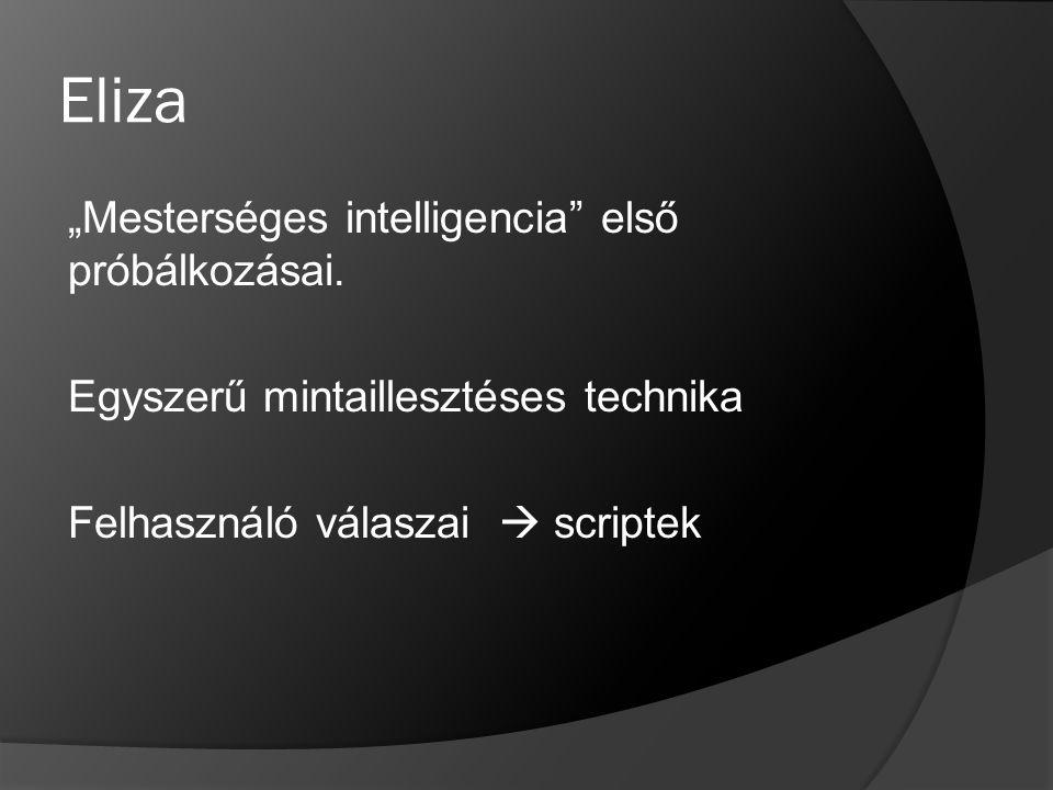 """Eliza """"Mesterséges intelligencia"""" első próbálkozásai. Egyszerű mintaillesztéses technika Felhasználó válaszai  scriptek"""