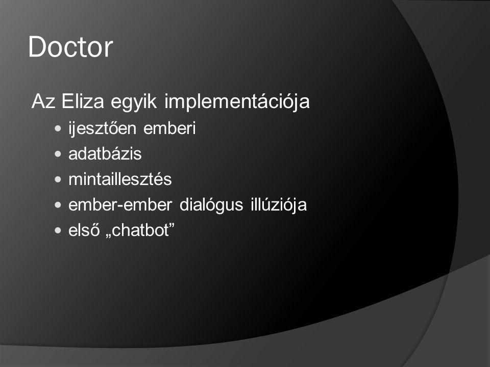 """Doctor Az Eliza egyik implementációja ijesztően emberi adatbázis mintaillesztés ember-ember dialógus illúziója első """"chatbot"""""""