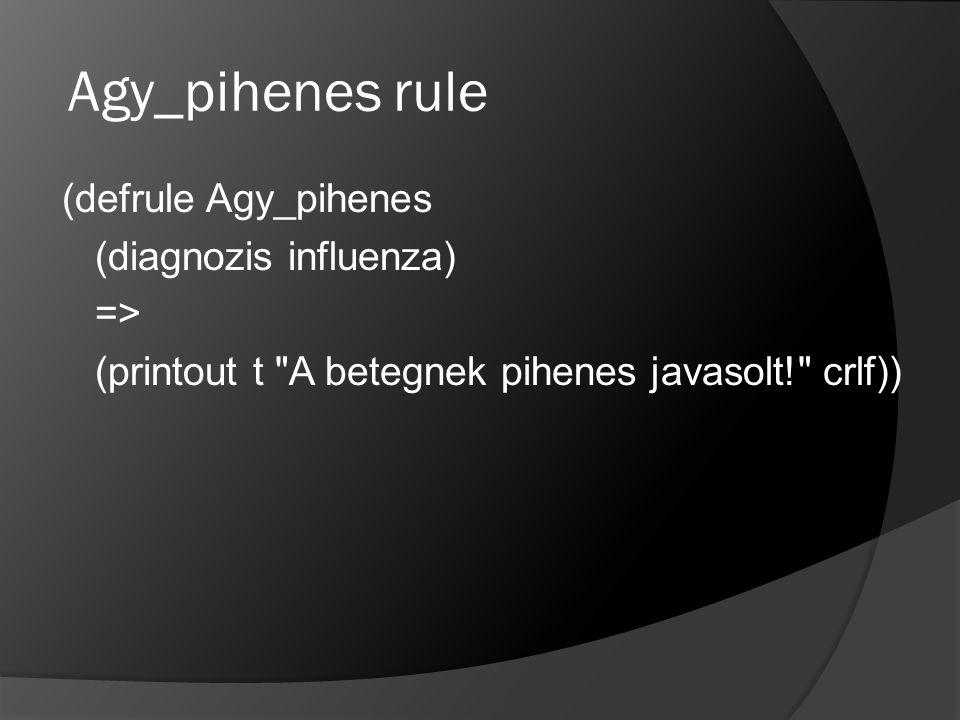 Agy_pihenes rule (defrule Agy_pihenes (diagnozis influenza) => (printout t