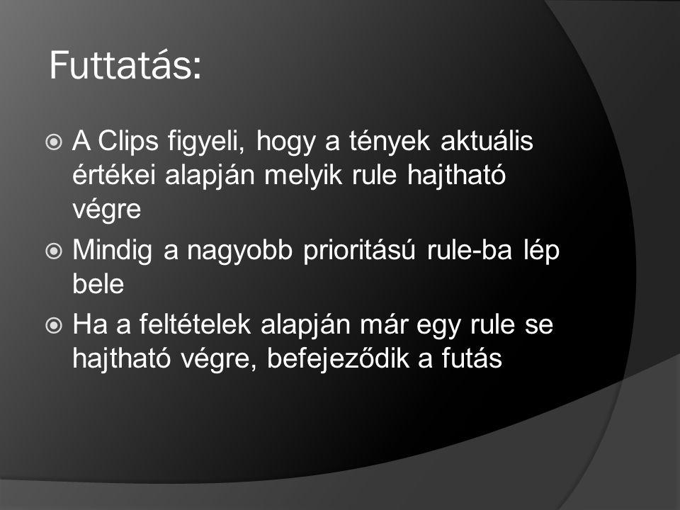 Futtatás:  A Clips figyeli, hogy a tények aktuális értékei alapján melyik rule hajtható végre  Mindig a nagyobb prioritású rule-ba lép bele  Ha a f
