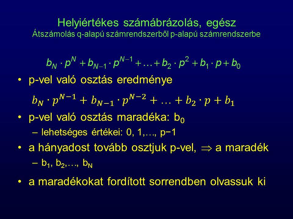 Helyiértékes számábrázolás, egész Átszámolás q-alapú számrendszerből p-alapú számrendszerbe p-vel való osztás eredménye p-vel való osztás maradéka: b