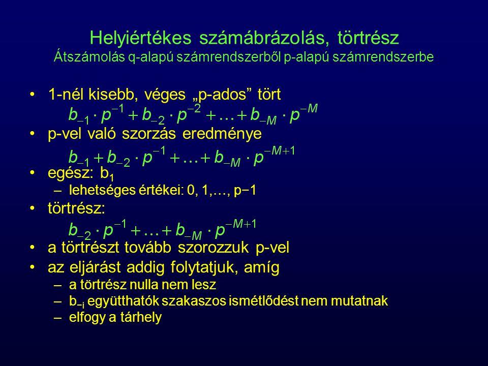 """Helyiértékes számábrázolás, törtrész Átszámolás q-alapú számrendszerből p-alapú számrendszerbe 1-nél kisebb, véges """"p-ados"""" tört p-vel való szorzás er"""