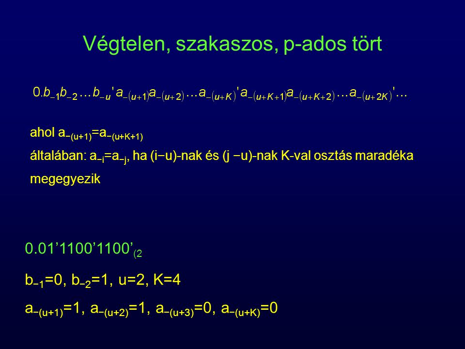 Végtelen, szakaszos, p-ados tört ahol a −(u+1) =a −(u+K+1) általában: a −i =a −j, ha (i−u)-nak és (j −u)-nak K-val osztás maradéka megegyezik 0.01'110