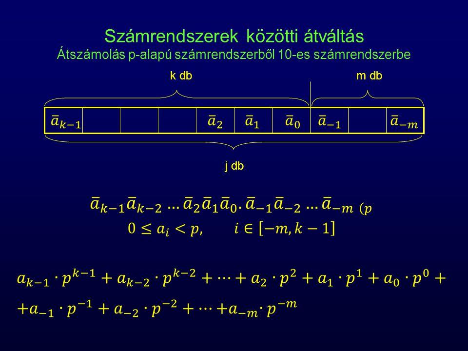 Számrendszerek közötti átváltás Átszámolás p-alapú számrendszerből 10-es számrendszerbe j db k dbm db