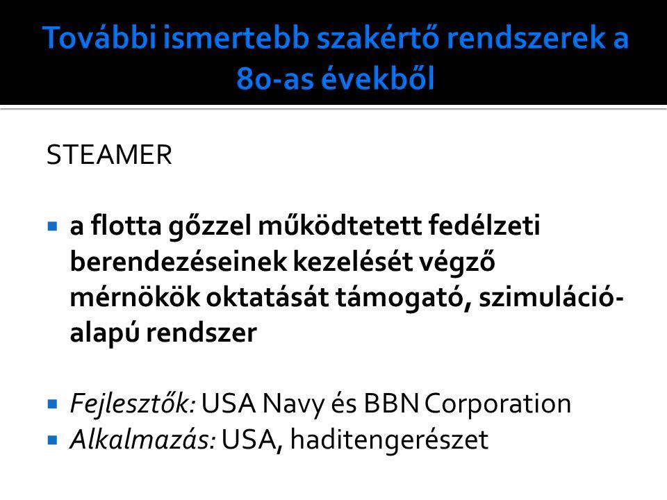 STEAMER  a flotta gőzzel működtetett fedélzeti berendezéseinek kezelését végző mérnökök oktatását támogató, szimuláció- alapú rendszer  Fejlesztők: USA Navy és BBN Corporation  Alkalmazás: USA, haditengerészet