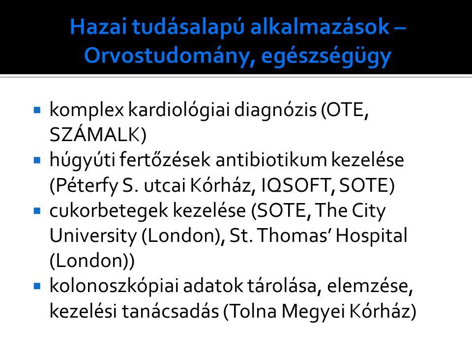  komplex kardiológiai diagnózis (OTE, SZÁMALK)  húgyúti fertőzések antibiotikum kezelése (Péterfy S.