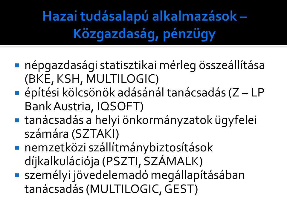 népgazdasági statisztikai mérleg összeállítása (BKE, KSH, MULTILOGIC)  építési kölcsönök adásánál tanácsadás (Z – LP Bank Austria, IQSOFT)  tanácsadás a helyi önkormányzatok ügyfelei számára (SZTAKI)  nemzetközi szállítmánybiztosítások díjkalkulációja (PSZTI, SZÁMALK)  személyi jövedelemadó megállapításában tanácsadás (MULTILOGIC, GEST)