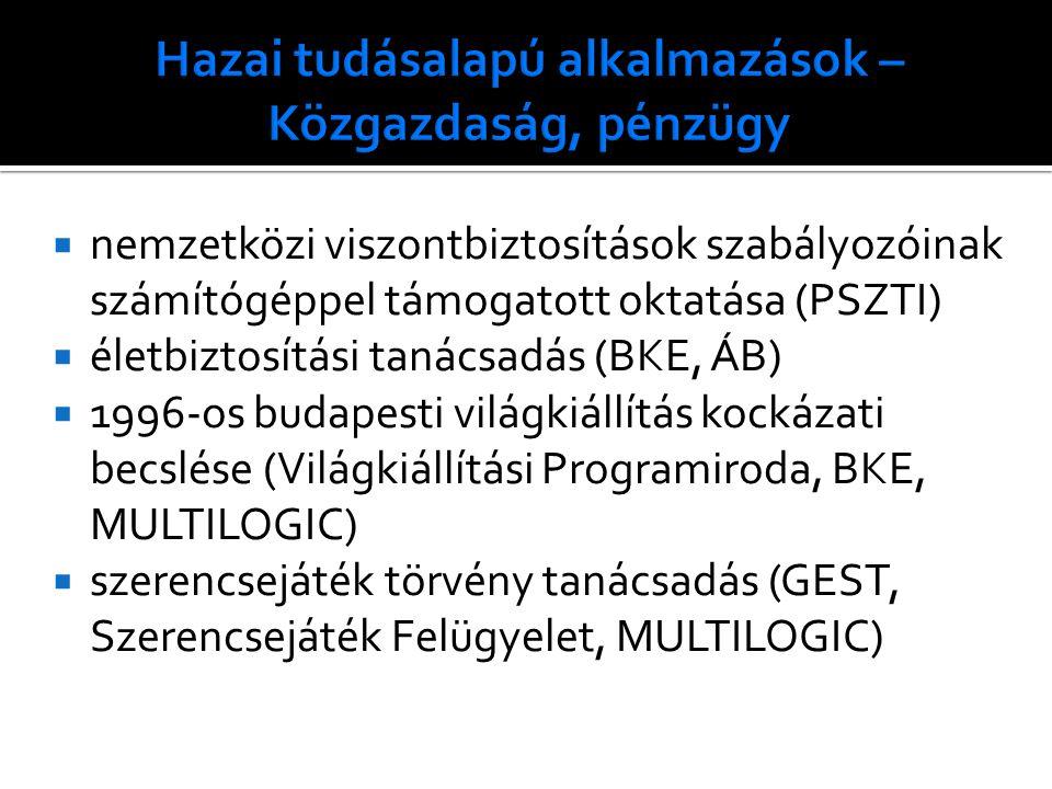  nemzetközi viszontbiztosítások szabályozóinak számítógéppel támogatott oktatása (PSZTI)  életbiztosítási tanácsadás (BKE, ÁB)  1996-os budapesti világkiállítás kockázati becslése (Világkiállítási Programiroda, BKE, MULTILOGIC)  szerencsejáték törvény tanácsadás (GEST, Szerencsejáték Felügyelet, MULTILOGIC)