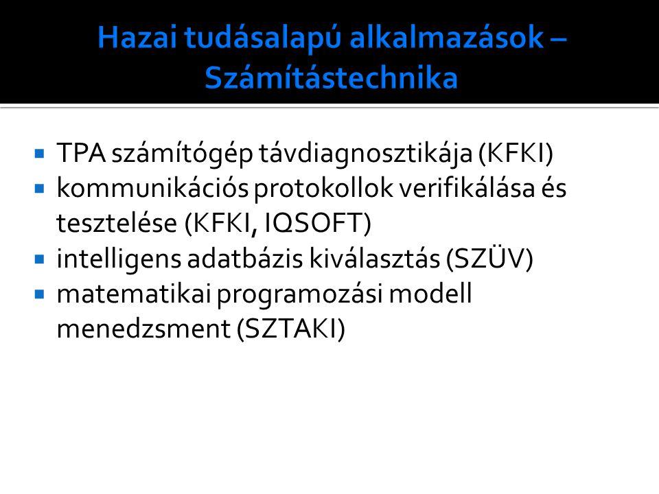  TPA számítógép távdiagnosztikája (KFKI)  kommunikációs protokollok verifikálása és tesztelése (KFKI, IQSOFT)  intelligens adatbázis kiválasztás (SZÜV)  matematikai programozási modell menedzsment (SZTAKI)