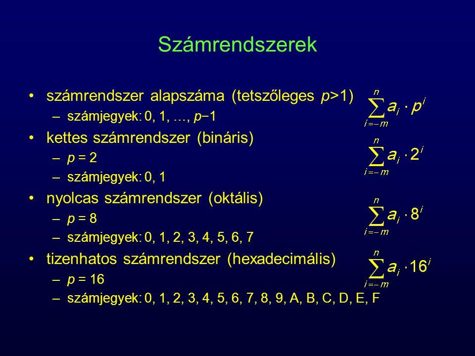 Számrendszerek számrendszer alapszáma (tetszőleges p>1) –számjegyek: 0, 1, …, p−1 kettes számrendszer (bináris) –p = 2 –számjegyek: 0, 1 nyolcas számrendszer (oktális) –p = 8 –számjegyek: 0, 1, 2, 3, 4, 5, 6, 7 tizenhatos számrendszer (hexadecimális) –p = 16 –számjegyek: 0, 1, 2, 3, 4, 5, 6, 7, 8, 9, A, B, C, D, E, F