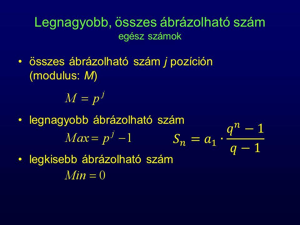Legnagyobb, összes ábrázolható szám egész számok összes ábrázolható szám j pozíción (modulus: M) legnagyobb ábrázolható szám legkisebb ábrázolható szám