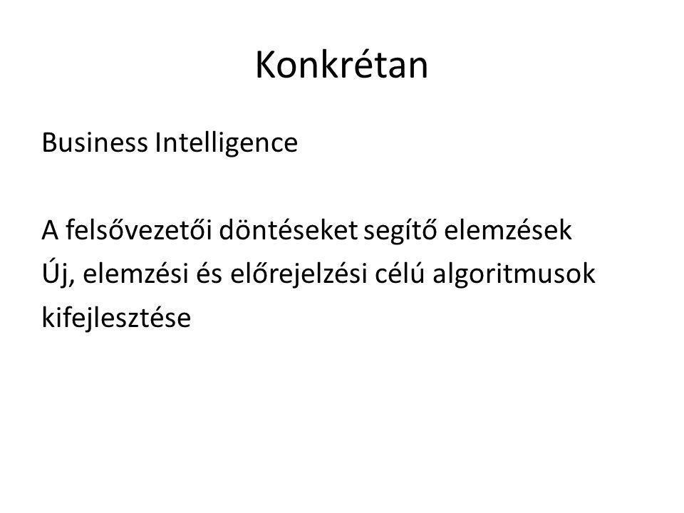 Konkrétan Business Intelligence A felsővezetői döntéseket segítő elemzések Új, elemzési és előrejelzési célú algoritmusok kifejlesztése