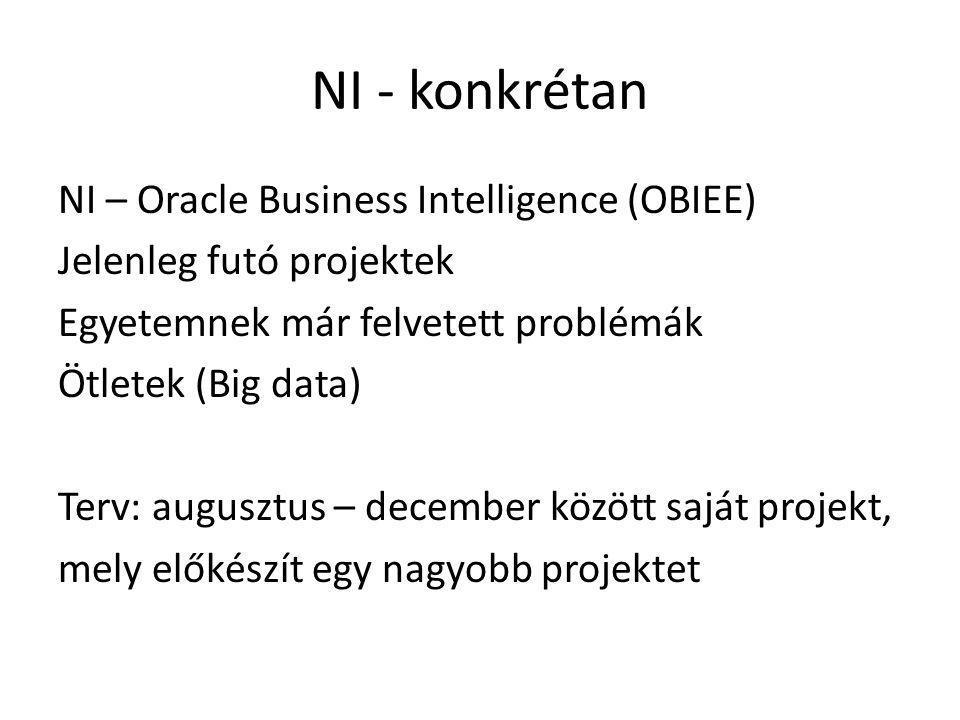 NI - konkrétan NI – Oracle Business Intelligence (OBIEE) Jelenleg futó projektek Egyetemnek már felvetett problémák Ötletek (Big data) Terv: augusztus
