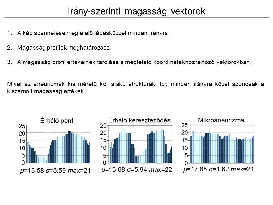 Irány-szerinti magasság vektorok 1.A kép scannelése megfelelő lépésközzel minden irányra. 2.Magasság profilok meghatározása. 3.A magasság profil érték