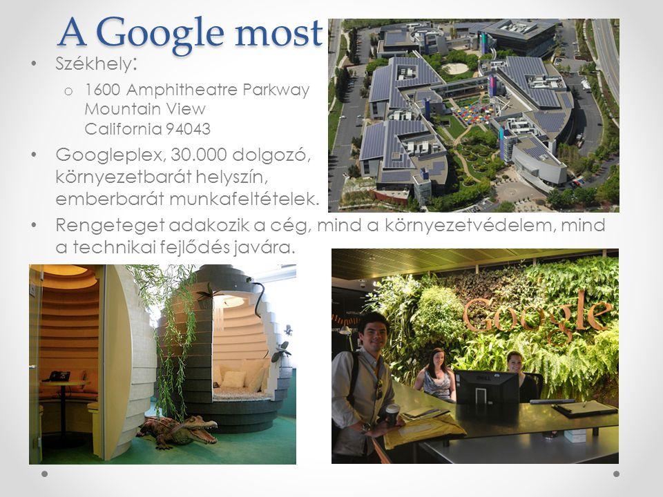 A Google most Székhely : o 1600 Amphitheatre Parkway Mountain View California 94043 Googleplex, 30.000 dolgozó, környezetbarát helyszín, emberbarát munkafeltételek.