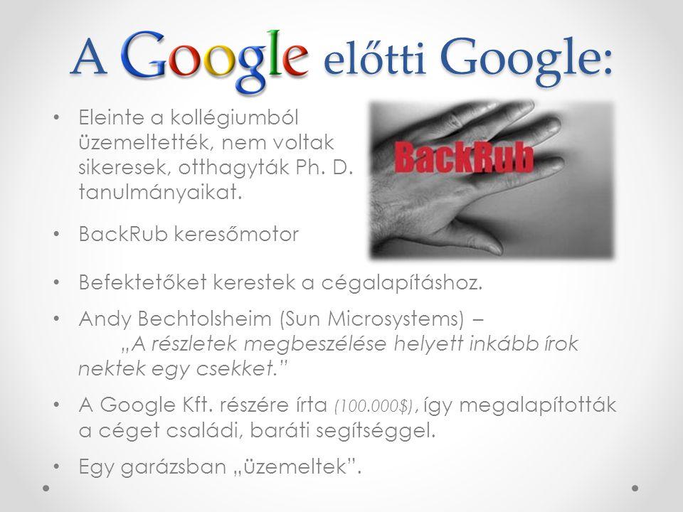 A előtti Google: Eleinte a kollégiumból üzemeltették, nem voltak sikeresek, otthagyták Ph.