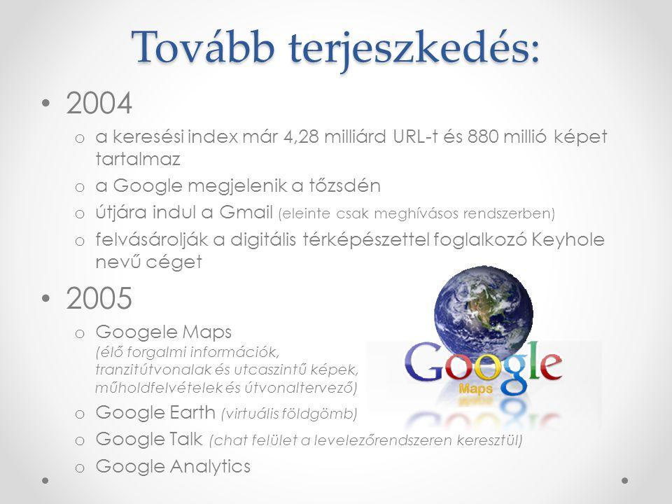 Tovább terjeszkedés: 2004 o a keresési index már 4,28 milliárd URL-t és 880 millió képet tartalmaz o a Google megjelenik a tőzsdén o útjára indul a Gmail (eleinte csak meghívásos rendszerben) o felvásárolják a digitális térképészettel foglalkozó Keyhole nevű céget 2005 o Googele Maps (élő forgalmi információk, tranzitútvonalak és utcaszintű képek, műholdfelvételek és útvonaltervező) o Google Earth (virtuális földgömb) o Google Talk (chat felület a levelezőrendszeren keresztül) o Google Analytics