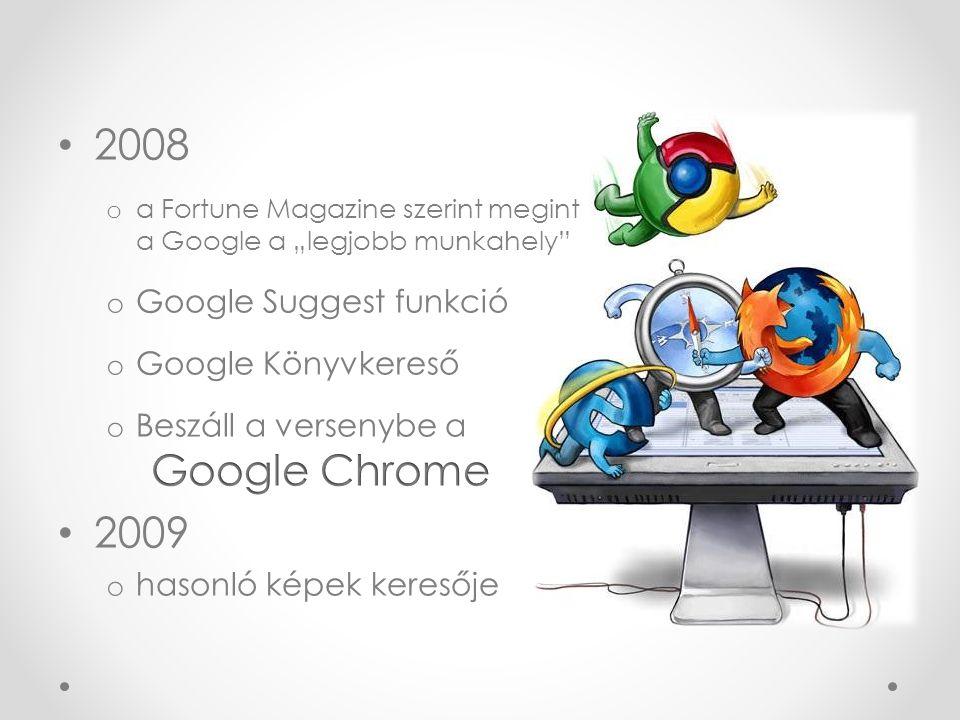 A Google napjainkban Folyamatosan, feltartóztathatatlanul fejlődik o Google TV o Google Instant (miközben írjuk a keresőbe a szavakat, ez már kidobja a találatokat) o Google Instant előnézet o Google eBookstore o Google Művészeti Projekt (virtuálisan felfedezhet 17-et a világ legjobb múzeumai közül) o Google+