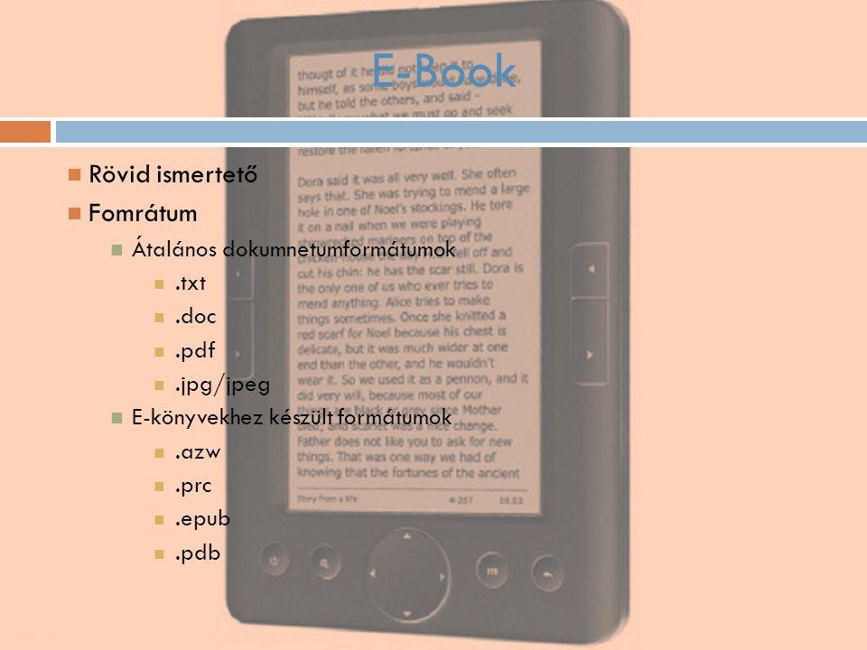 E-Book Rövid ismertető Fomrátum Átalános dokumnetumformátumok.txt.doc.pdf.jpg/jpeg E-könyvekhez készült formátumok.azw.prc.epub.pdb