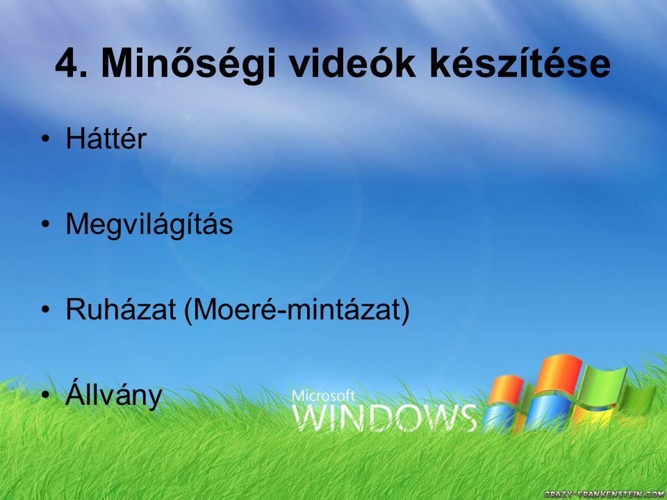 4. Minőségi videók készítése Háttér Megvilágítás Ruházat (Moeré-mintázat) Állvány