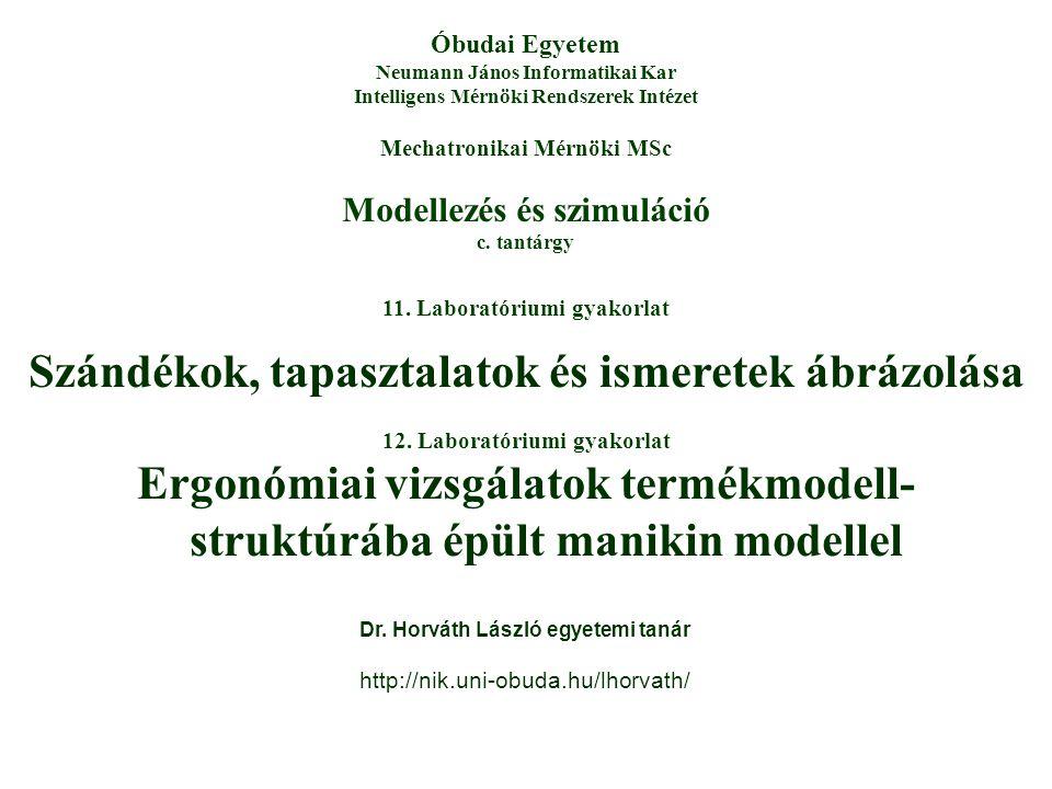 Modellezés és szimuláció c. tantárgy Óbudai Egyetem Neumann János Informatikai Kar Intelligens Mérnöki Rendszerek Intézet Mechatronikai Mérnöki MSc 11