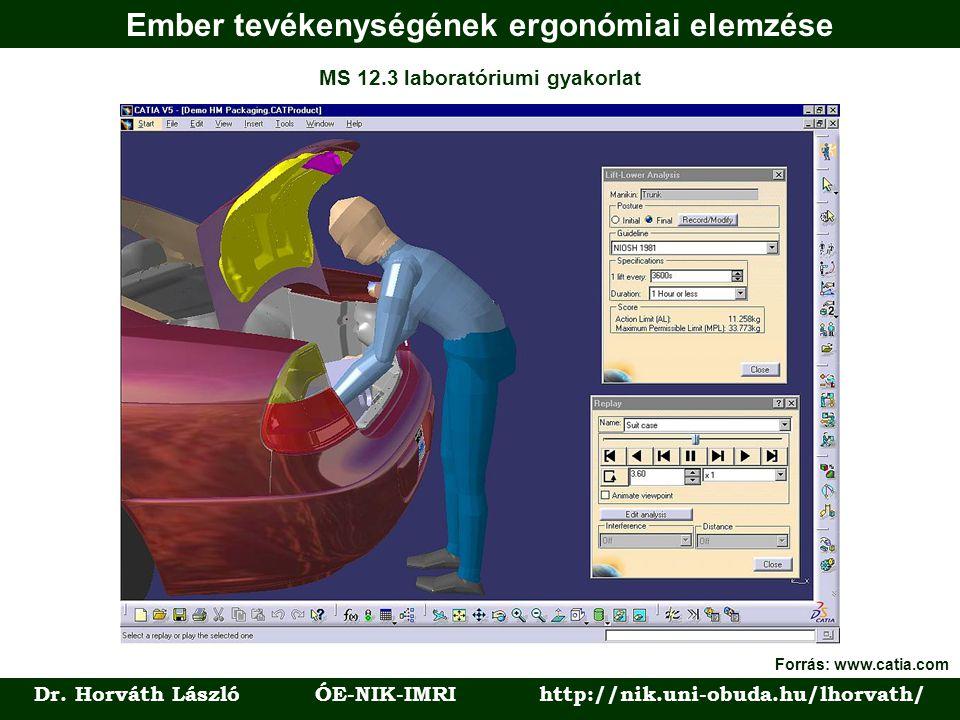 Ember tevékenységének ergonómiai elemzése Dr. Horváth László ÓE-NIK-IMRI http://nik.uni-obuda.hu/lhorvath/ MS 12.3 laboratóriumi gyakorlat Forrás: www