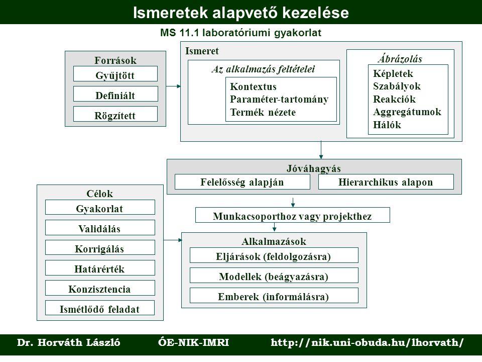 Ismeretek alapvető kezelése Dr. Horváth László ÓE-NIK-IMRI http://nik.uni-obuda.hu/lhorvath/ MS 11.1 laboratóriumi gyakorlat Ismeret Az alkalmazás fel