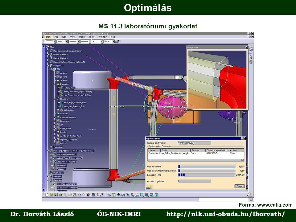 Optimálás Dr. Horváth László ÓE-NIK-IMRI http://nik.uni-obuda.hu/lhorvath/ MS 11.3 laboratóriumi gyakorlat Forrás: www.catia.com