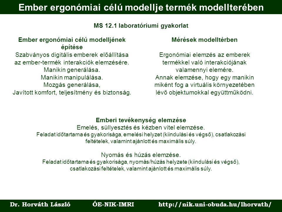Ember ergonómiai célú modellje termék modellterében Dr. Horváth László ÓE-NIK-IMRI http://nik.uni-obuda.hu/lhorvath/ MS 12.1 laboratóriumi gyakorlat E