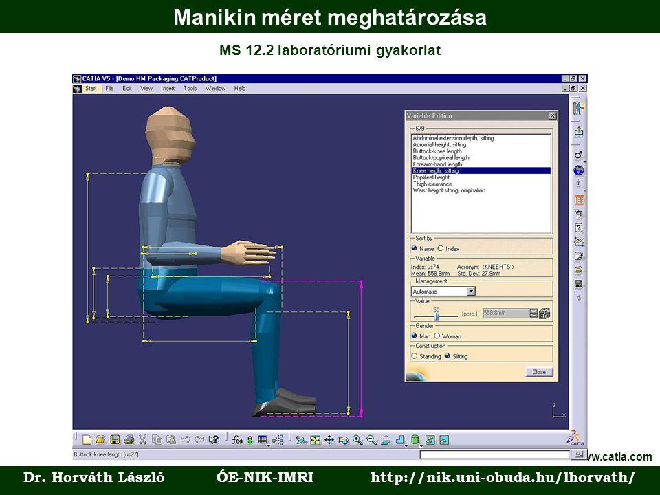 Manikin méret meghatározása Dr. Horváth László ÓE-NIK-IMRI http://nik.uni-obuda.hu/lhorvath/ MS 12.2 laboratóriumi gyakorlat Forrás: www.catia.com