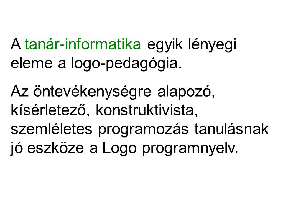 A tanár-informatika egyik lényegi eleme a logo-pedagógia. Az öntevékenységre alapozó, kísérletező, konstruktivista, szemléletes programozás tanulásnak
