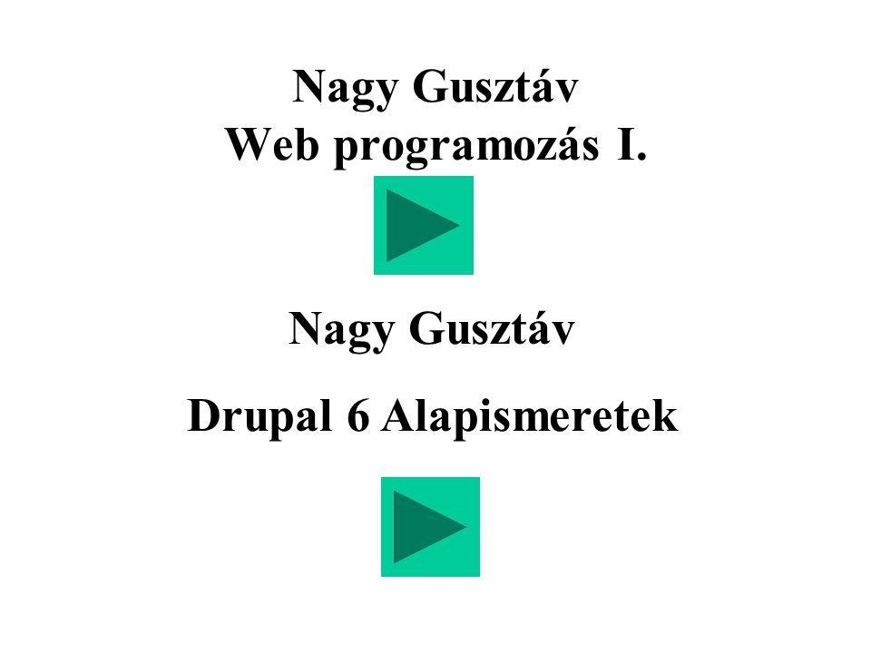 Nagy Gusztáv Web programozás I. Nagy Gusztáv Drupal 6 Alapismeretek