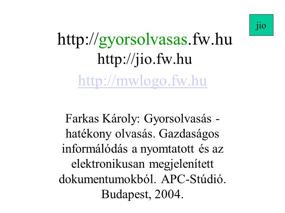 http://gyorsolvasas.fw.hu http://jio.fw.hu http://mwlogo.fw.hu Farkas Károly: Gyorsolvasás - hatékony olvasás. Gazdaságos informálódás a nyomtatott és
