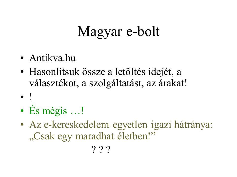 Magyar e-bolt Antikva.hu Hasonlítsuk össze a letöltés idejét, a választékot, a szolgáltatást, az árakat! ! És mégis …! Az e-kereskedelem egyetlen igaz