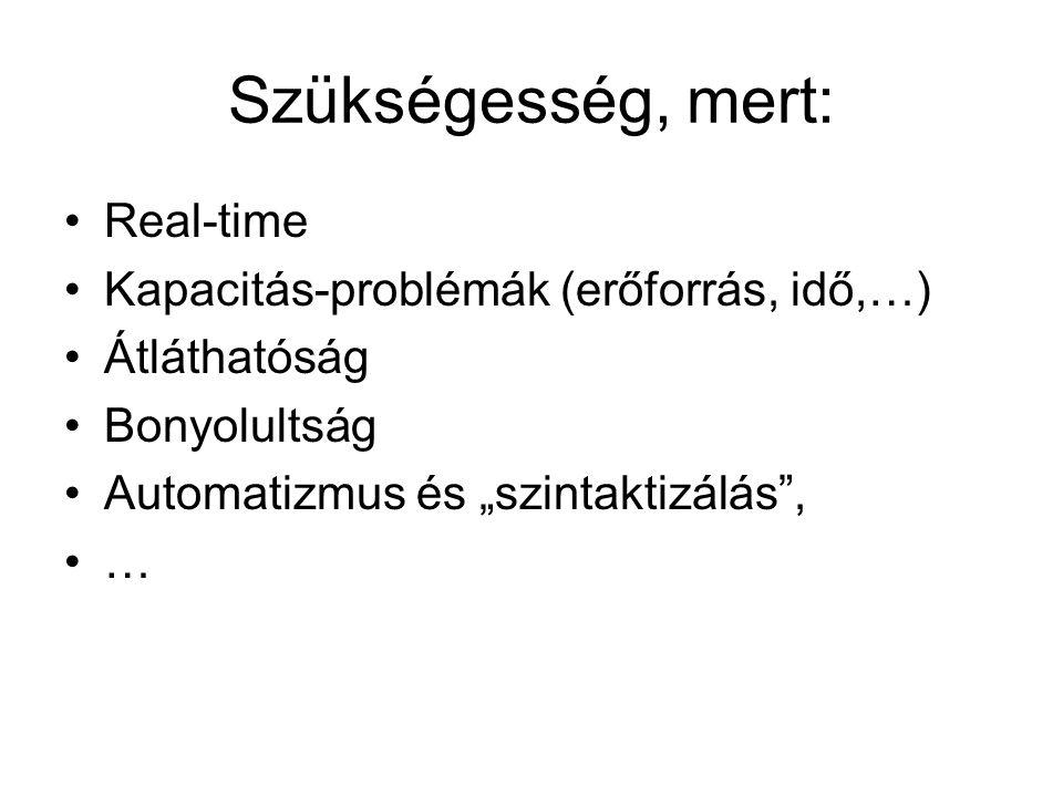 """Szükségesség, mert: Real-time Kapacitás-problémák (erőforrás, idő,…) Átláthatóság Bonyolultság Automatizmus és """"szintaktizálás , …"""