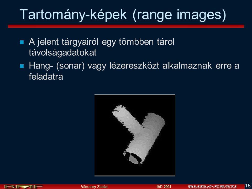 Vámossy Zoltán IAR 2004 15 Tartomány-képek (range images) n A jelent tárgyairól egy tömbben tárol távolságadatokat n Hang- (sonar) vagy lézereszközt alkalmaznak erre a feladatra