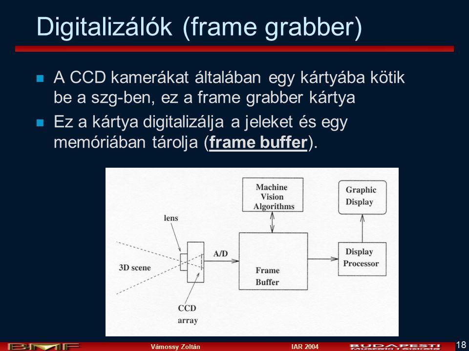 Vámossy Zoltán IAR 2004 18 Digitalizálók (frame grabber) n A CCD kamerákat általában egy kártyába kötik be a szg-ben, ez a frame grabber kártya n Ez a kártya digitalizálja a jeleket és egy memóriában tárolja (frame buffer).