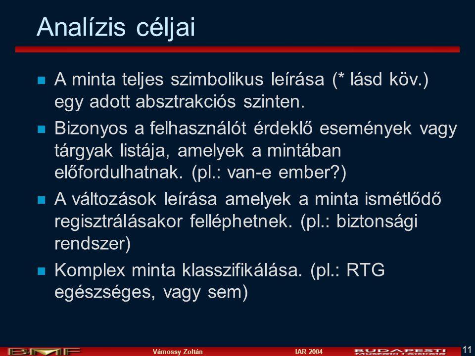Vámossy Zoltán IAR 2004 11 Analízis céljai n A minta teljes szimbolikus leírása (* lásd köv.) egy adott absztrakciós szinten.