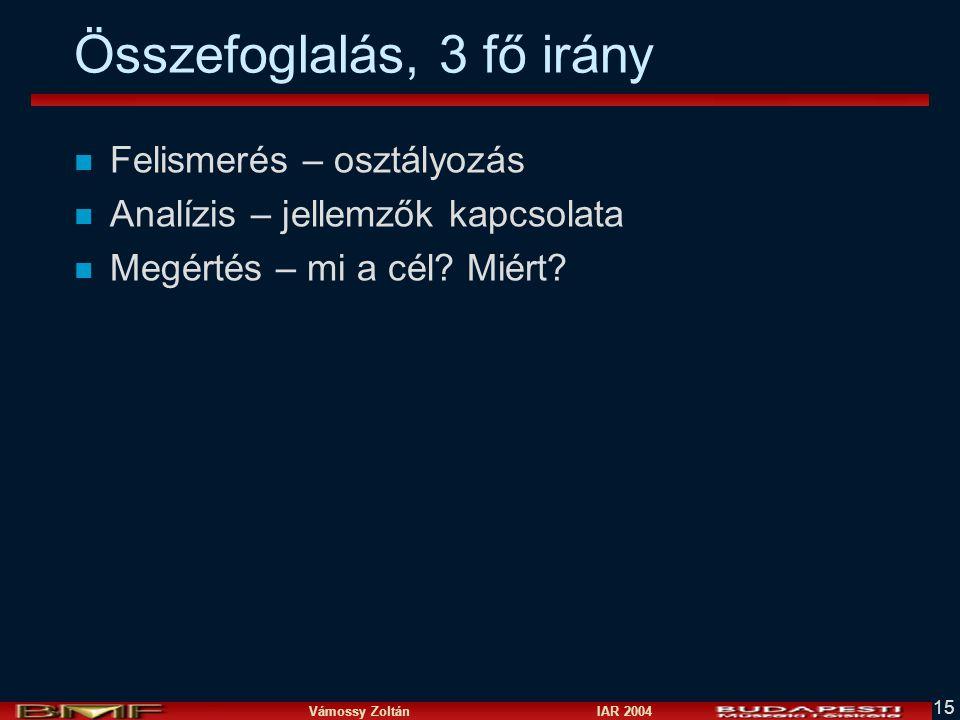 Vámossy Zoltán IAR 2004 15 Összefoglalás, 3 fő irány n Felismerés – osztályozás n Analízis – jellemzők kapcsolata n Megértés – mi a cél.