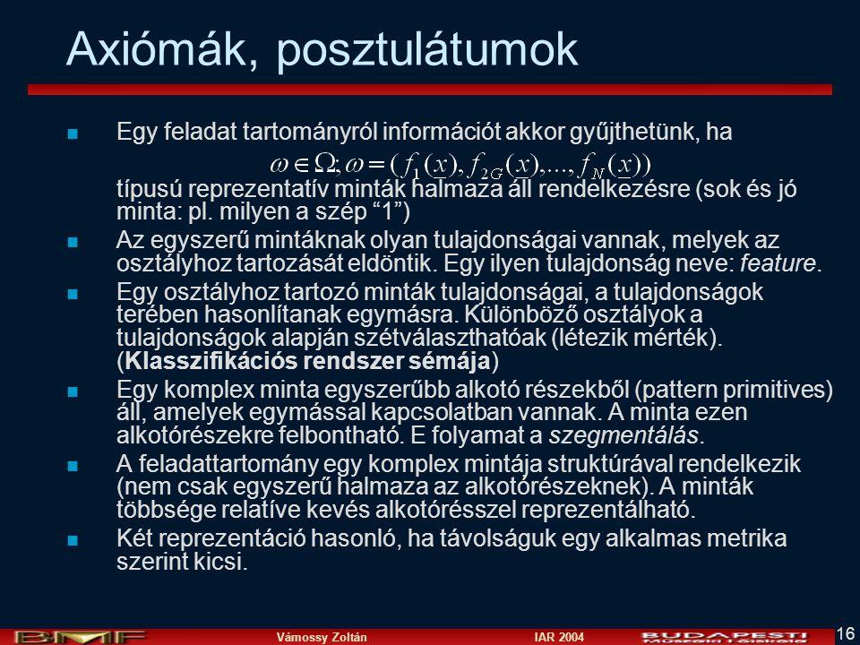 Vámossy Zoltán IAR 2004 16 Axiómák, posztulátumok n Egy feladat tartományról információt akkor gyűjthetünk, ha típusú reprezentatív minták halmaza áll rendelkezésre (sok és jó minta: pl.