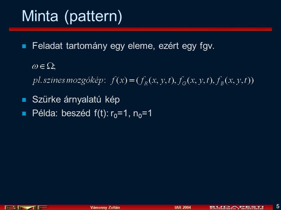 Vámossy Zoltán IAR 2004 5 Minta (pattern) n Feladat tartomány egy eleme, ezért egy fgv.