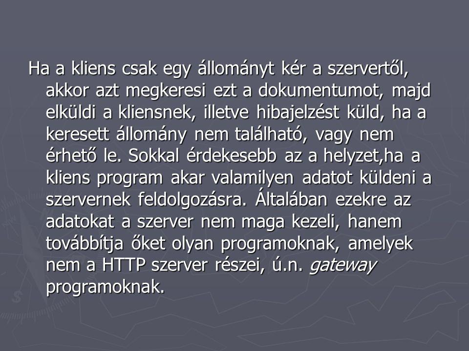 A CGI specifikációk határozzák meg, hogy a HTTP szerver hogyan kommunikál a küldött adatokat feldolgozó programokkal.
