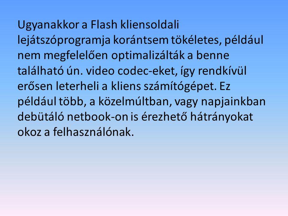 Ugyanakkor a Flash kliensoldali lejátszóprogramja korántsem tökéletes, például nem megfelelően optimalizálták a benne található ún.