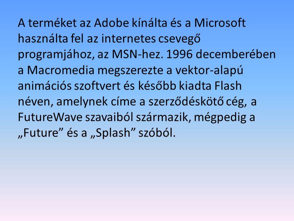 A terméket az Adobe kínálta és a Microsoft használta fel az internetes csevegő programjához, az MSN-hez.