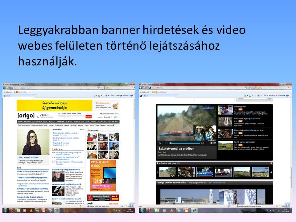 Leggyakrabban banner hirdetések és video webes felületen történő lejátszásához használják.